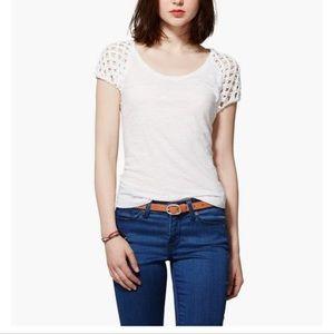 Lucky Brand Nora Macrame Tee Cotton White Size M